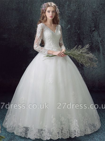 Romantic Lace Tulle Ball Gown Wedding Dress 3/4-Long Sleeve