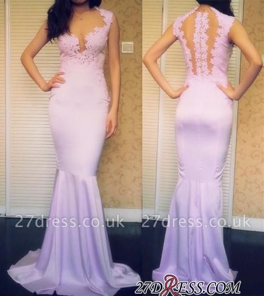 Sleeveless Elegant Mermaid Popular Sweep-Train Appliques Prom Dress UKes UK