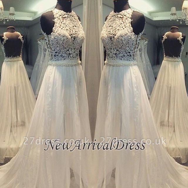 Scoop Neckline Simple Hollow Sweep-train A-line Sleevess Wedding Dress