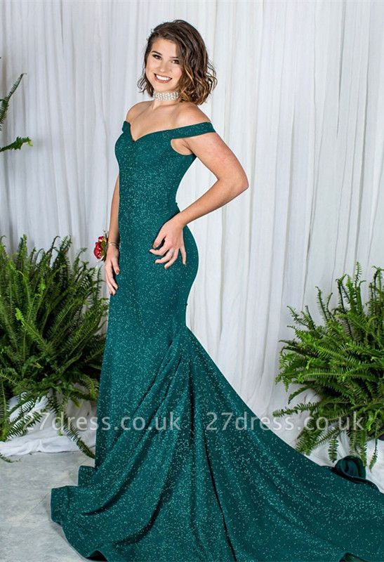 Green Off-the-Shoulder Prom Dress UK   Sequins Mermaid Evening Gowns