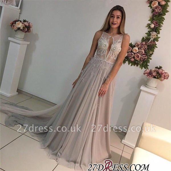 Sleeveless A-Line Crystal Sexy Court-Train Prom Dress UK