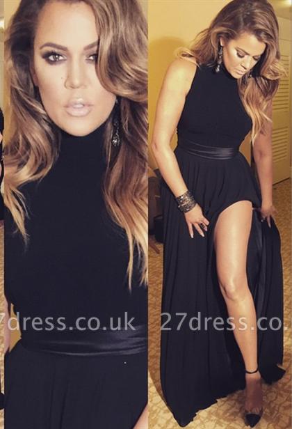 Elegant black High-Neck Sleeveless Prom Dress UKes UK Front Split Floor Length BA3110