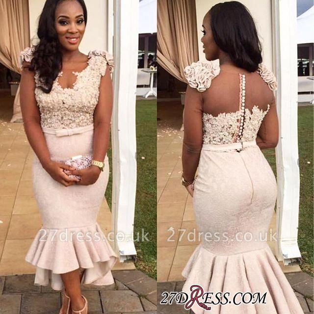Mermaid Appliques Simple Sleevelss Buttons Hi-Lo Lace Prom Dress UK BA4670 BK0