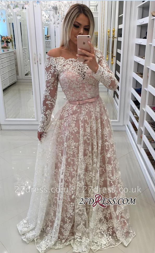 Sleeves Prom Shoulder Long A-Line Pink Newest Lace Dress UKes UK Off Pearls Evening Dress UKes UK