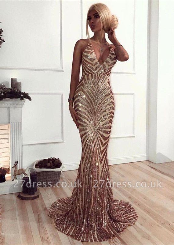 Elegant V-Neck Mermaid Prom Dress UK | Sequins Long Evening Dress UK