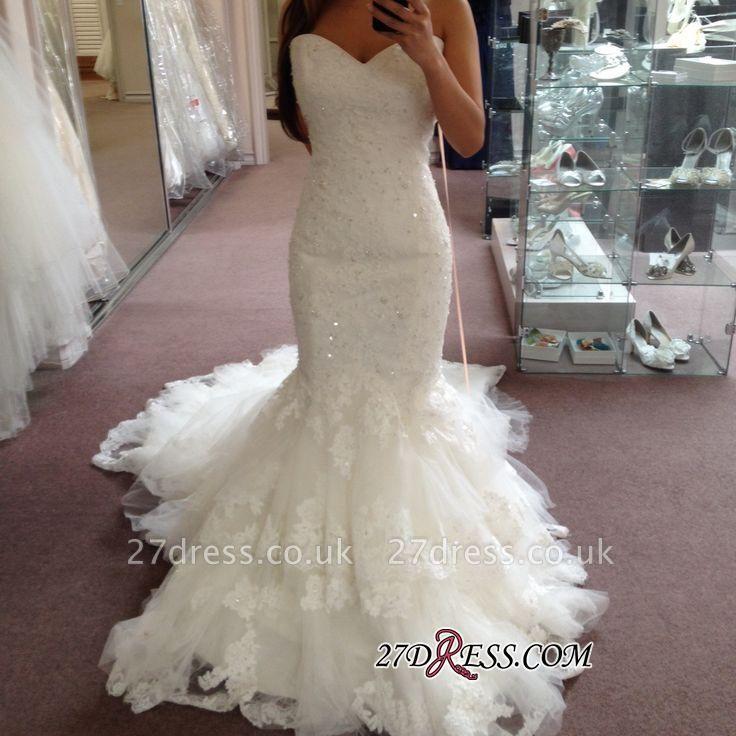 Tiered Tulle Elegant Sexy Mermaid Sequins Appliques Sweetheart Wedding Dresses UK BA3776