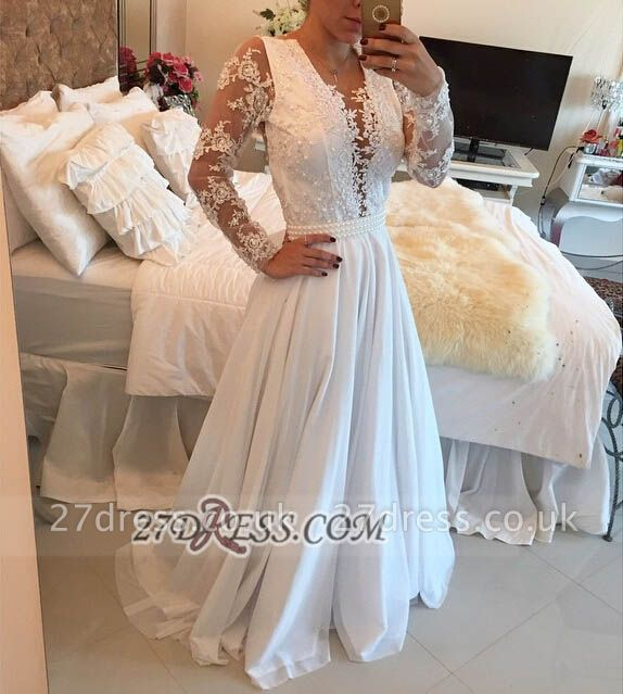 Sexy V-neck Long Sleeve Evening Dress UK With Pearls And Lace Appliques BT0