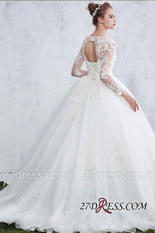 Lace Gown Long-Sleeve Ball White  Jewel Wedding Dresses UK
