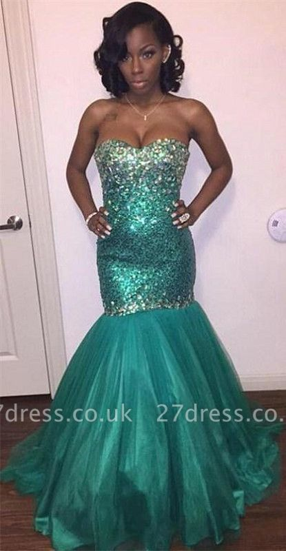 Sparkly Sweetheart Crystal Sequins Evening Dress UKes UK Mermaid Floor Length BK0