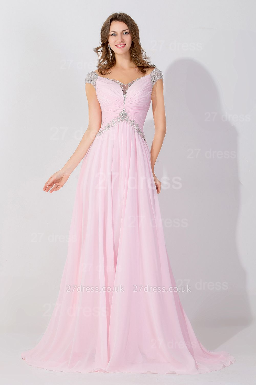 Elegant Beadings Cap Sleeve Evening Dress UK Chiffon Pink A-line