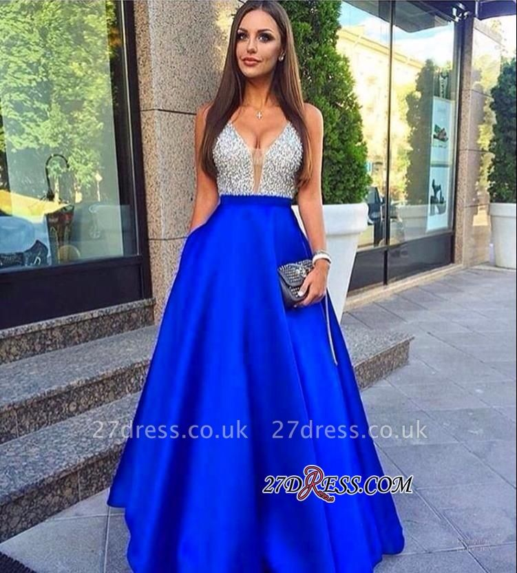 Puffy Pockets Royal-Blue V-Neck Sleeveless Beaded Prom Dress UKes UK BA4503