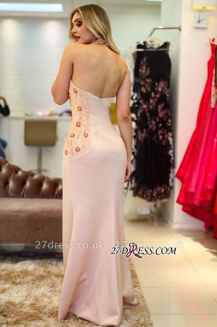 Embroidery Halter Sexy Mermaid Front-Slit Prom Dress UKes UK