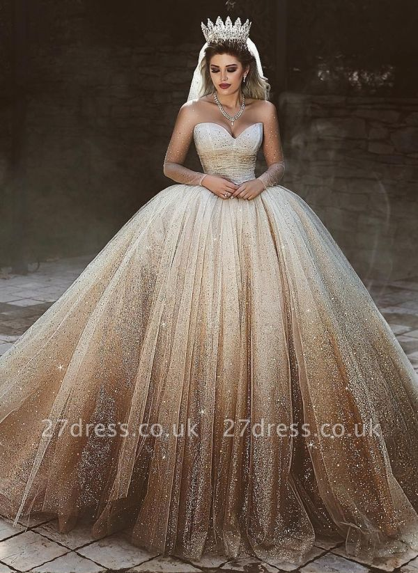 New Arrival Tulle Floor-Length Wedding Dresses UK Scoop Neckline Long Sleeves Bridal Dresses with Sequins