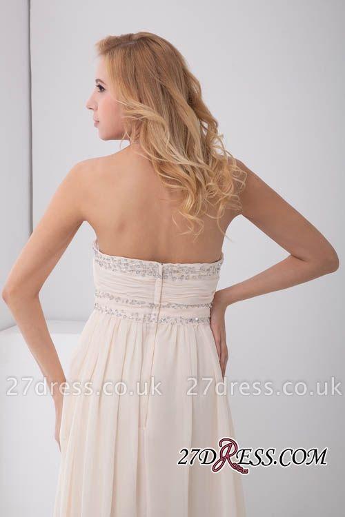 Sexy Open-Back Elegant Chiffon Beads Summer Sweep-Train Sleeveless Strapless Bridesmaid Dress UKes UK