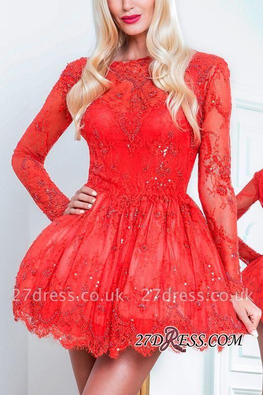 Red Short Long-Sleeve Sexy Lace Homecoming Dress UKes UK BA8057