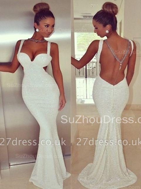 Elegant Backless White Sequins Prom Dress UK White Mermaid Sleeveless BK0