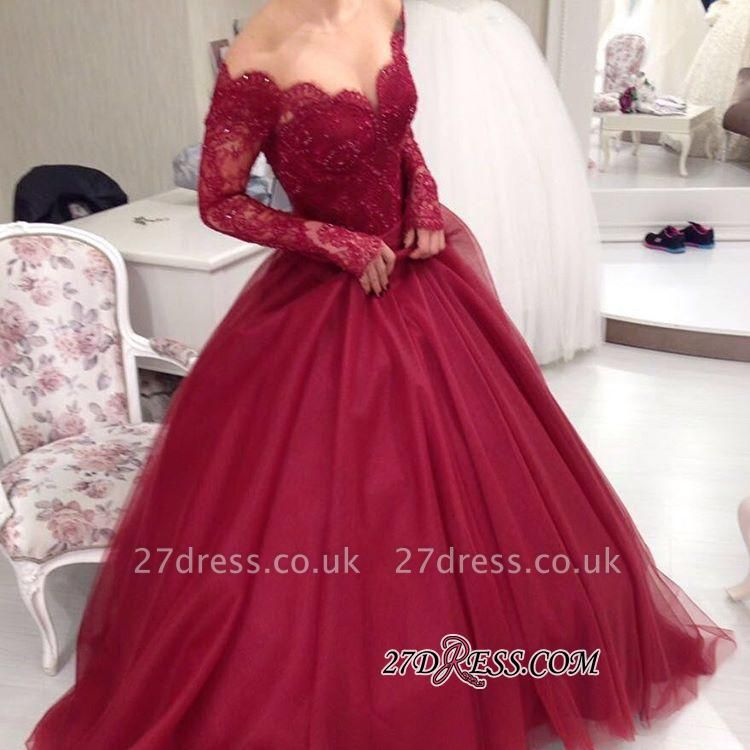 Ball-Gown Princess Lace V-neck Long-Sleeves Tulle Off-the-shoulder Sexy Evening Dress UKes UK jj0074