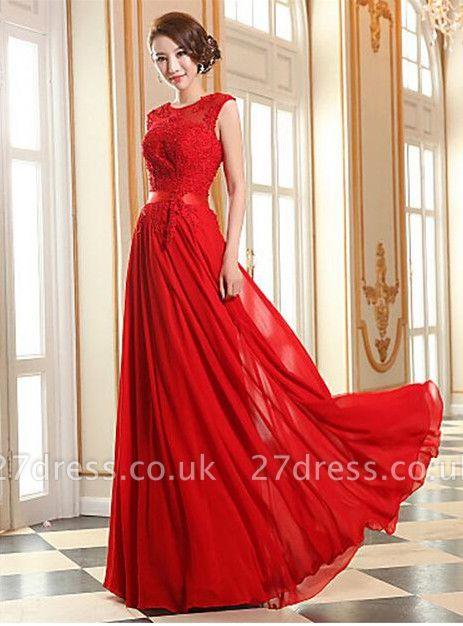 Elegant A-line Jewel Chiffon Prom Dress UK Lace Appliques