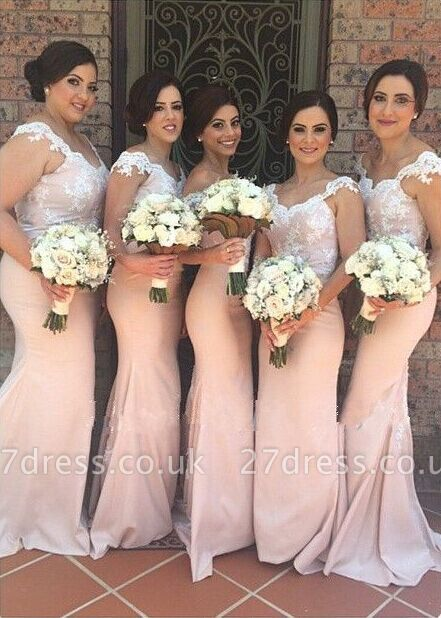 Sexy Off-shoulder Mermaid Bridesmaid Dress UK Floor-length With Lace Appliques
