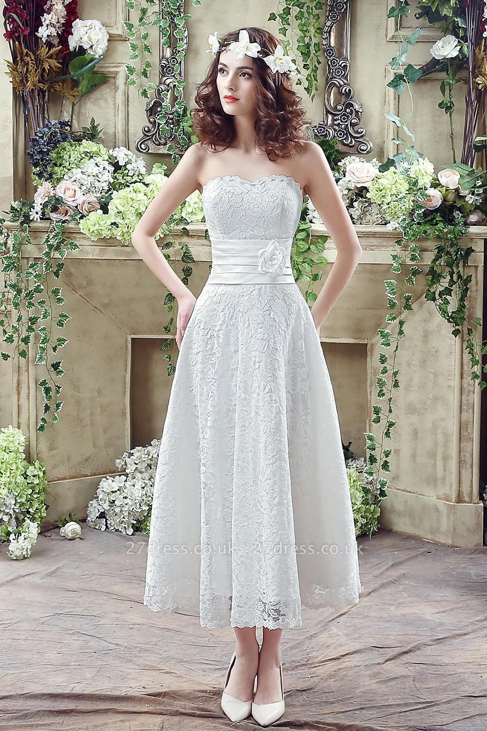 Delicate Lace Flower Strapless Wedding Dress A-line Sleeveless Lace-up