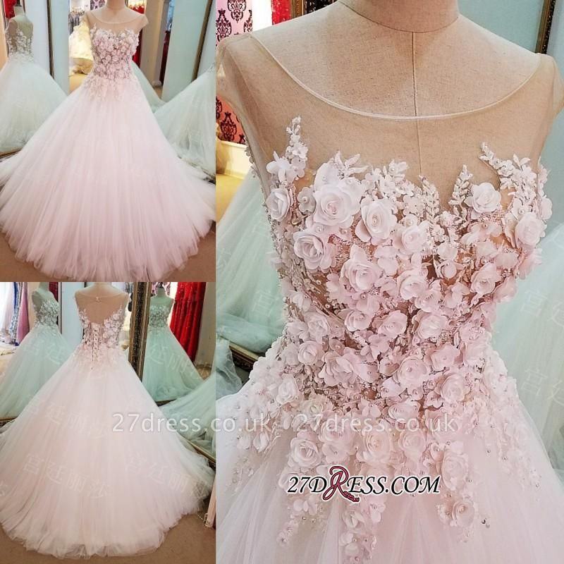 Flowers Ball-Gown Lace-Up Glamorous Cap-Sleeves Wedding Dress