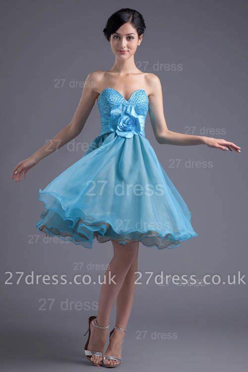 Cute Sweetheart Flower Crystals Cocktail Dress UK Short