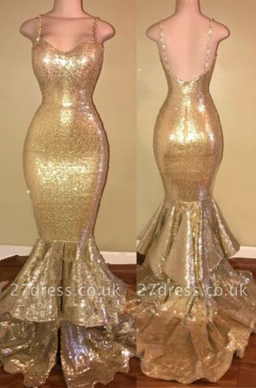 Gorgeous Spaghetti Straps Prom Dress UK Long Sequins Mermaid Party Dress UK With Ruffles