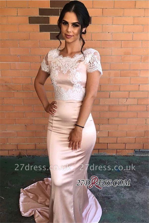 Short-Sleeves Lace Evening Dress UK | Pink Mermaid Prom Party Dress UK