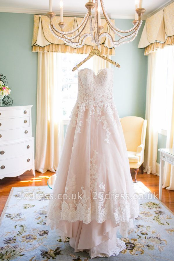 Newest Lace Tulle Princess Wedding Dress Sweetheart Sweep Train JT017
