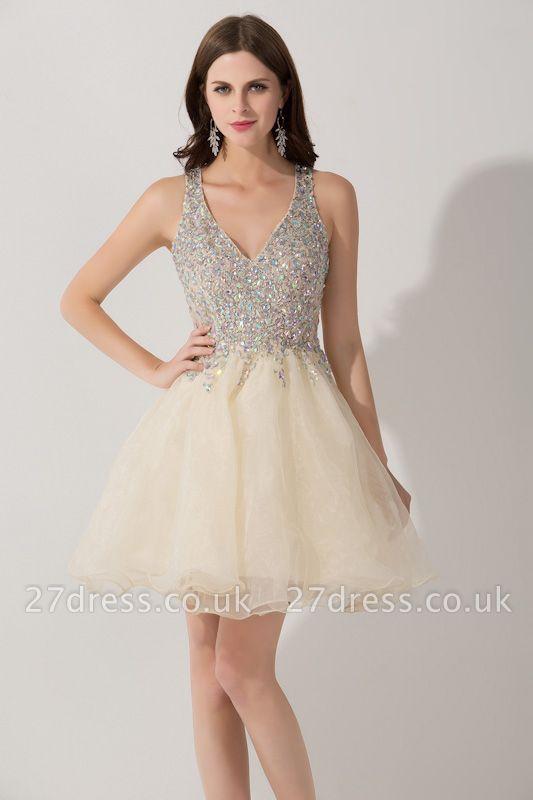 Elegant V-neck Sleeveless Short Homecoming Dress UK With Crystals