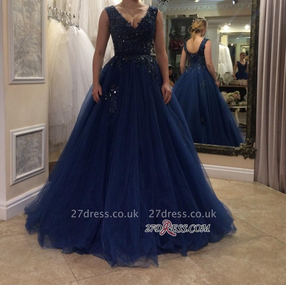 Applique Beading A-line V-neck Floor-length Tulle Evening Dress UK