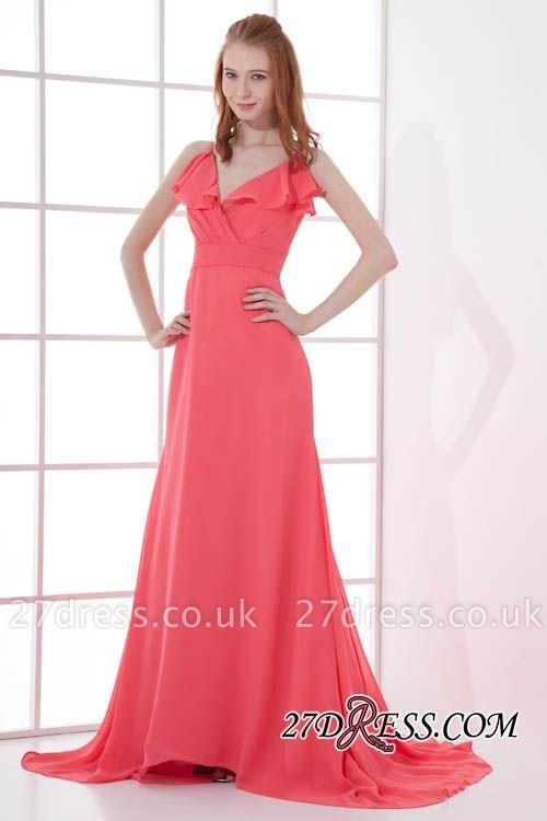 Open-Back Elegant Long-Train Sleeveless Chiffon Straps V-neck Bridesmaid Dress UKes UK