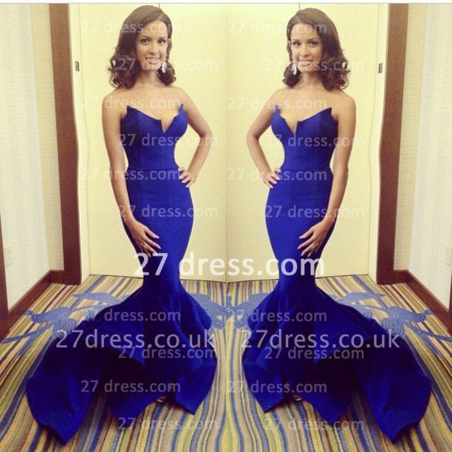 Stylish Sweetheart Mermaid Evening Dress UK Royal Blue Satin Brush Train Formal Evening Gowns