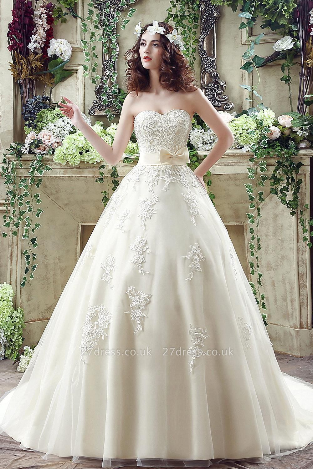 Newest Sweetheart Lace Appliques Wedding Dress Bowknot Sweep Train