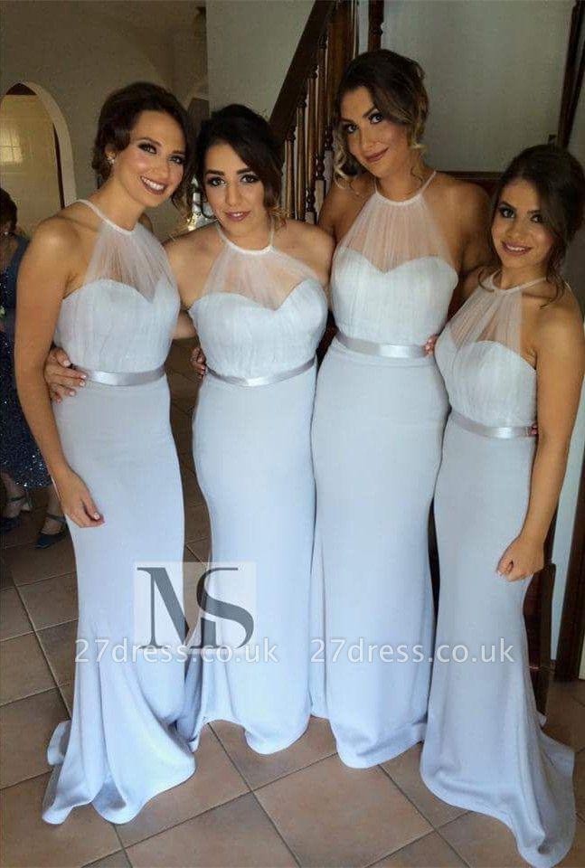 Elegant Halter Sleeveless Mermaid Bridesmaid Dress UK Sweep Train