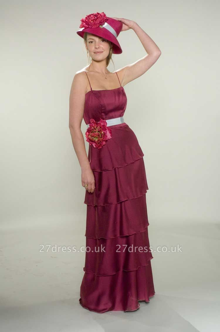 Gorgeous Spaghetti Straps Fuchsia Bridesmaid Dress UKes UK Layered Flowers Chiffon Wedding Party Gowns