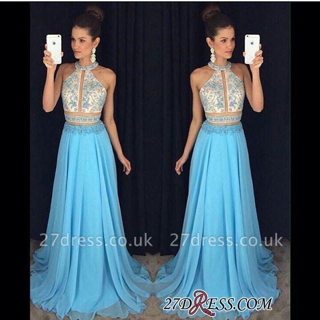Chiffon Sleeveless Lace-Appliques Halter Newest A-line Sweep-Train Prom Dress UK