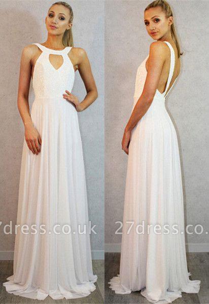 Sexy White Sleeveless Long Prom Dress UK Chiffon Party Gown