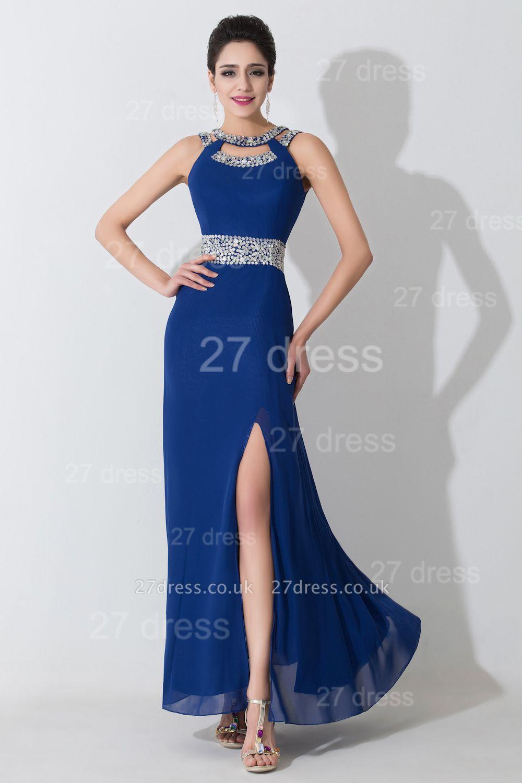 Modern Front Split Beadings Evening Dress UK Royal Blue