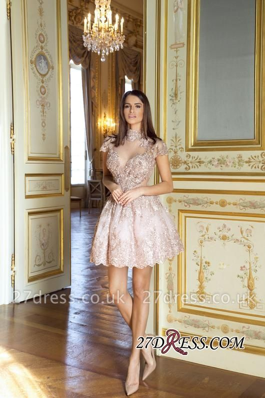 Occasion Lace Sexy Short Special Pink Long-Sleeve High-Neck Homecoming Dress UKes UK BA7055
