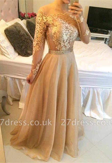Stunning Long Sleeve A-Line Prom Dress UKes UK Long Women's Evening party Gowns