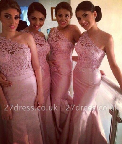 Modern One-shoulder Mermaid Bridesmaid Dress UK Floor-length With Lace