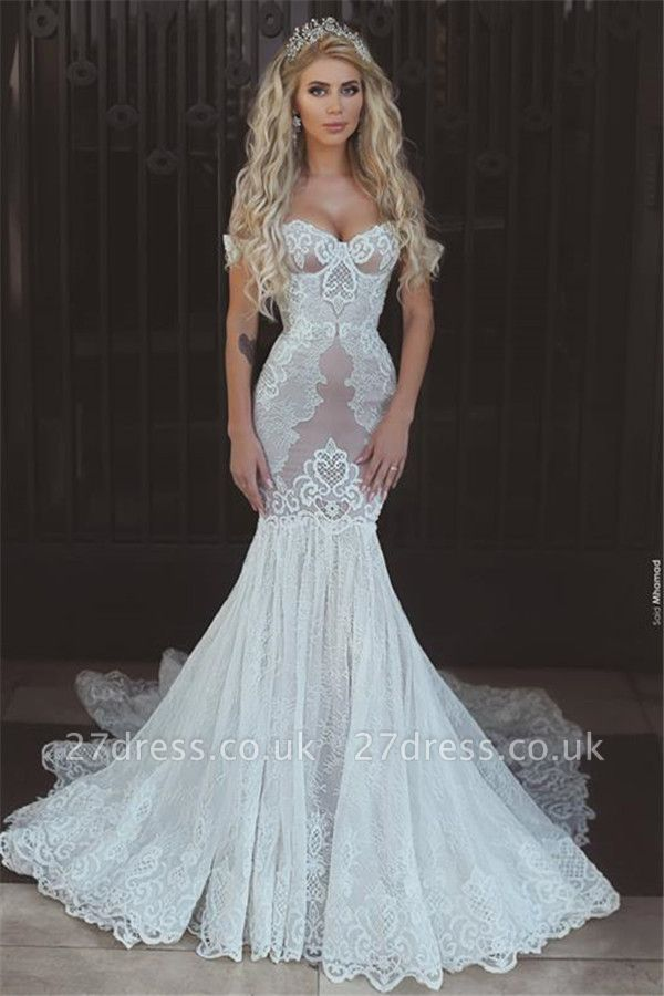 Sexy Mermaid Lace Off-the-Shoulder Wedding Dresses UK Open Back Bridal Gowns BA7275