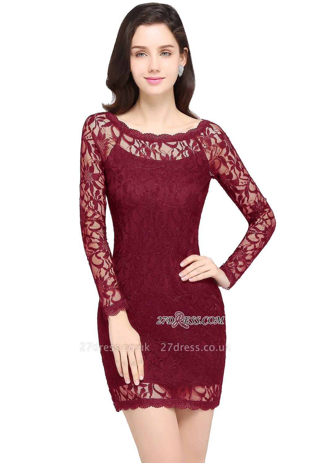 Sheath Long-Sleeves Lace Navy-Blue Sexy Cocktail Dress UK