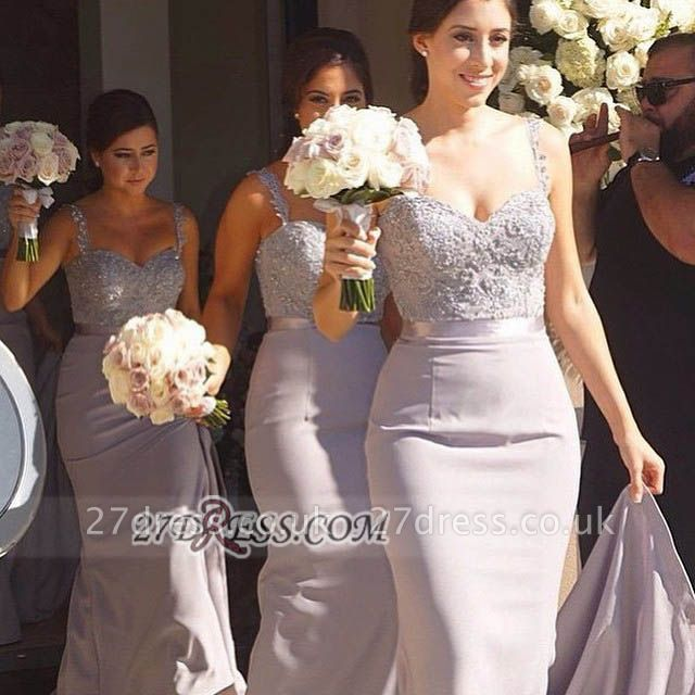 Modern Sweetheart Sleeveless Chiffon Bridesmaid Dress UK With Lace Appliques