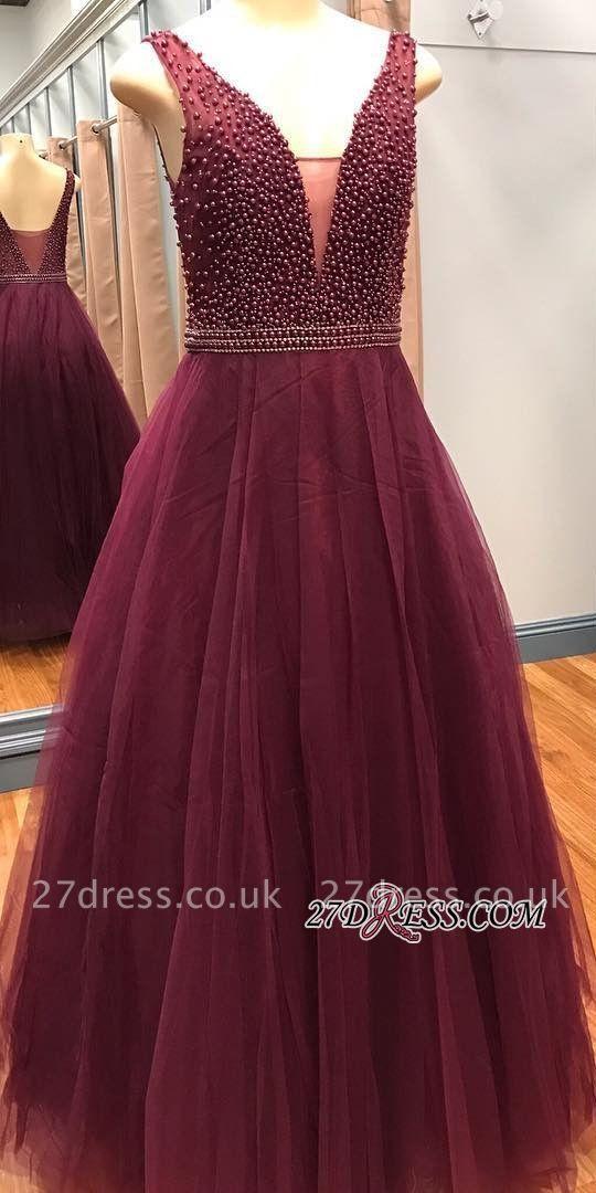 Luxury V-Neck Sleeveless Prom Dress UKes UK With Beadings Online