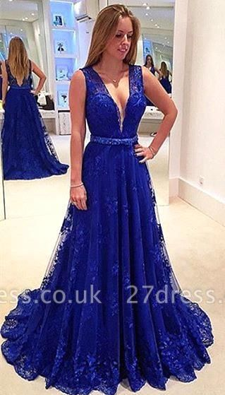 Sexy V-Neck Sleeveless Evening Dress UK Royal Blue Lace Appliques