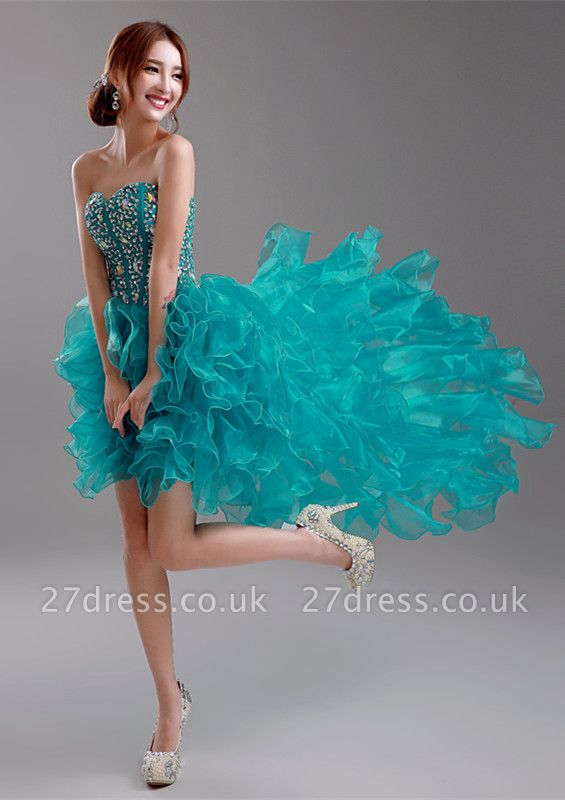 Elegant Ruffles Crystals Hi-Lo Prom Dress UK Sweep Train Sweetheart