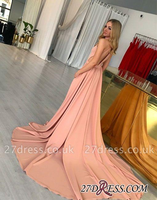 Simple Sleeveless Pink Halter Sweep-trian A-line Evening Dress UK