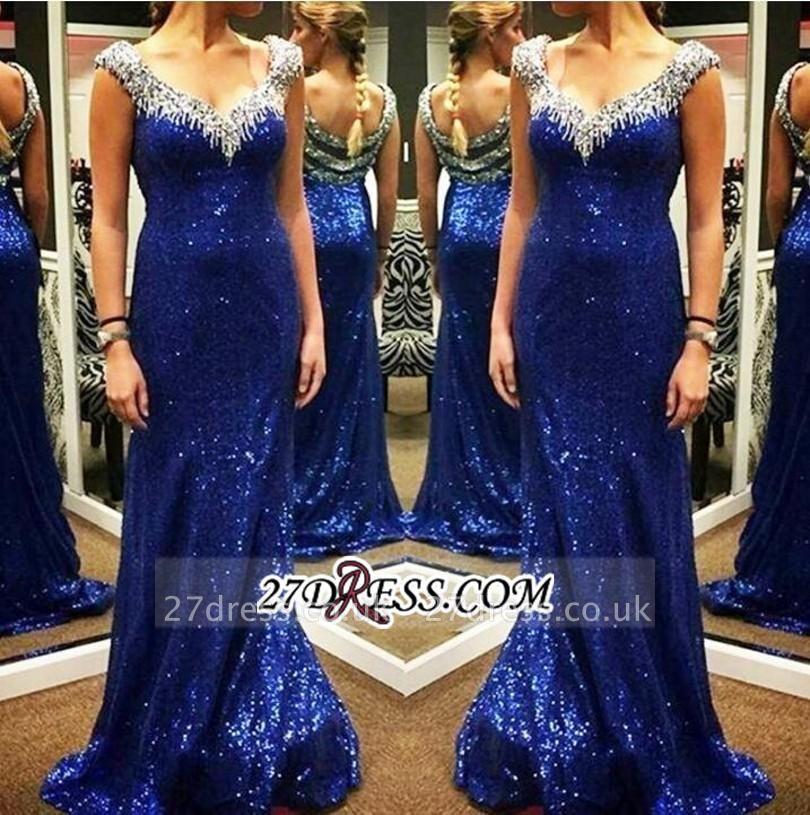 Arrival Sparkly Sheath V-neck Sexy Sequins Blue New Evening Dress UKes UK
